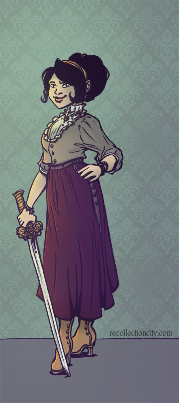 Ivory in front of wallpaper with a sword