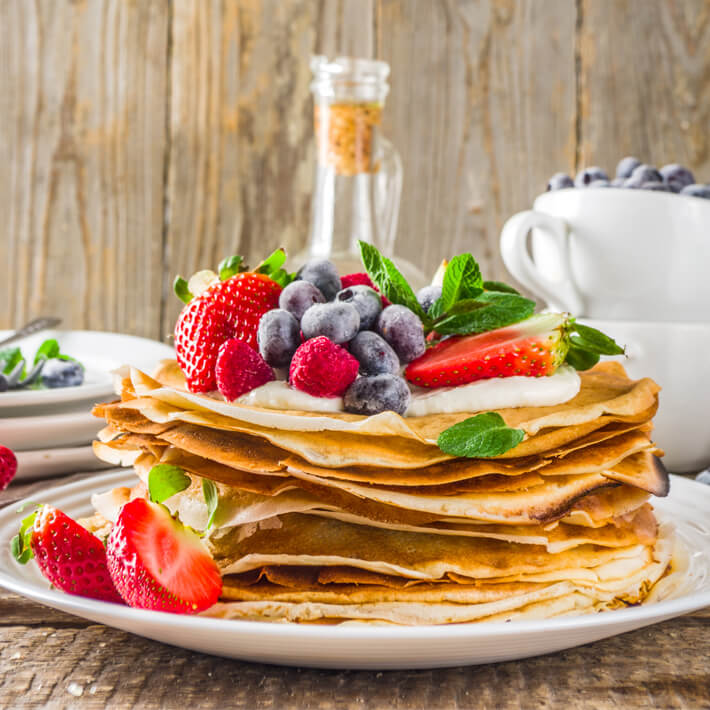 Keto Pancakes with Berries and Whipped Cream