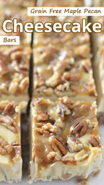 Grain Free Maple Pecan Cheesecake Bars