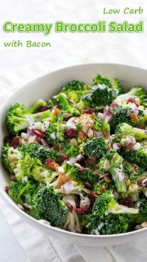 Low Carb Creamy Broccoli Salad With Bacon