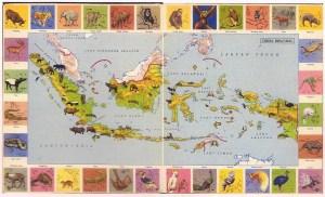 Dunia Binatang (world of animals), from Atlas Indonesia untuk Sekolah Rakyat IV-V-VI [Indonesian Atlas for popular schools level 4-5-6] (Jakarta: Ichtiar, 1954).