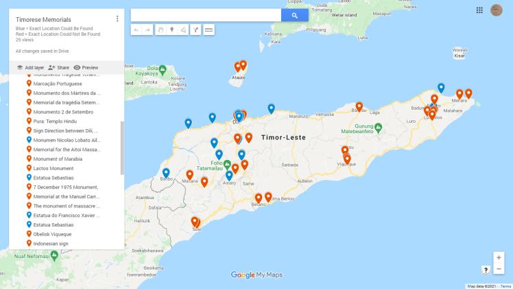 Screen shot of Timor memorials map