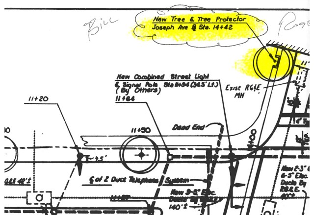 Joseph Avenue street plan from the 1970s shows our mystery wall was a 'tree protector'.
