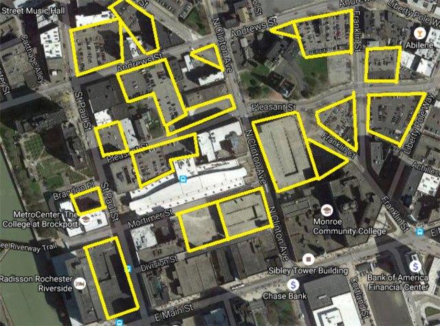 Parking lots near Rochester transit center.