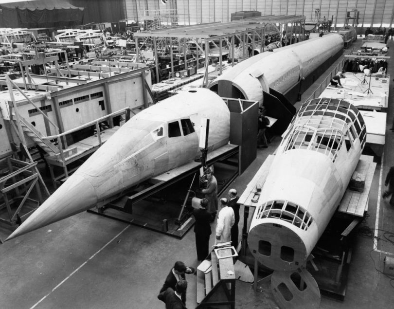 A wooden mock up of the supersonic aircraft 'Concorde' at Filton in Bristol, England, October 24, 1963. (Photo by Central Press/Getty Images)