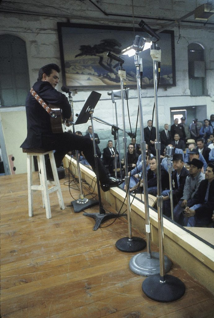 "Country singer Johnny Cash performs for prisoners at the Folsom Prison in California on January 13, 1968. The performance was recorded for his live album ""Johnny Cash at Folsom Prison."" (AP Photo/Dan Poush)"
