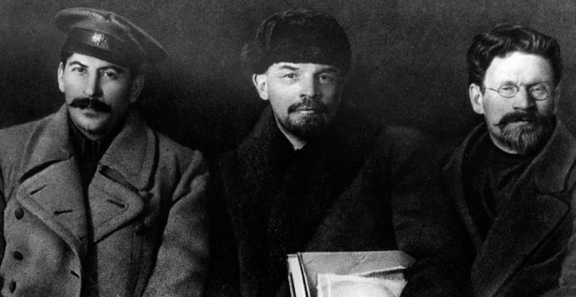 Russian revolutionaries leaders Josef Stalin, Vladimir Lenin and Mikhail Kalinin in 1919. (Photo by: Universal History Archive/UIG via Getty Images)