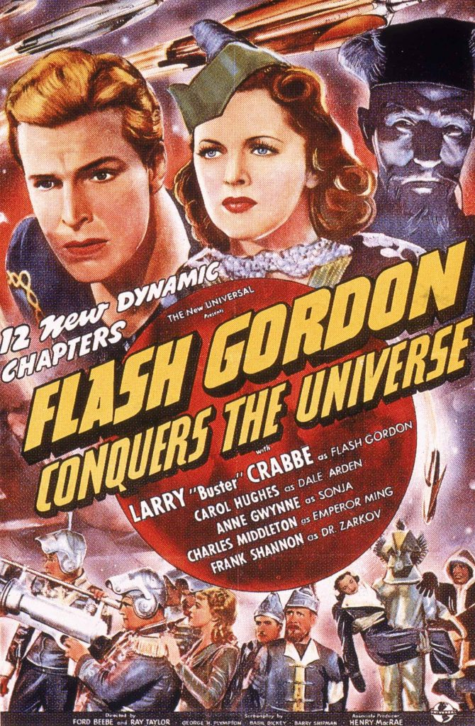Promotional poster for the film, 'Flash Gordon Conquers the Universe,' starring Buster Crabbe (1907 - 1983) and directed by Ford Beebe, 1940. (Photo by Universal Studios/Courtesy of Getty Images)