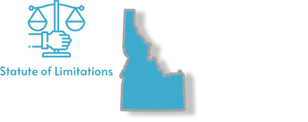 A stylized image of the state of Idaho with the words statute of limitations overlaid on top