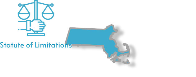 A stylized image of Massachussets with the words statute of limitations written on it