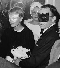 Frank Sinatra and Mia Farrow Wearing Masks