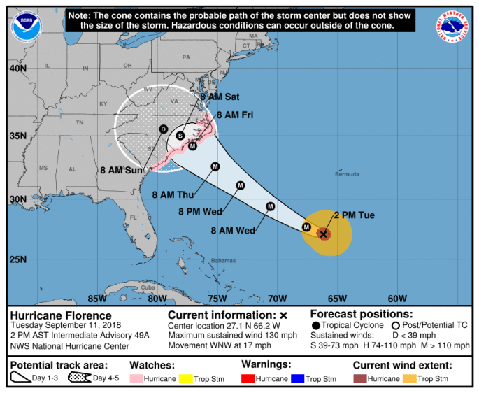 Image showing Hurricane Florence forecast map from the National Hurricane Center