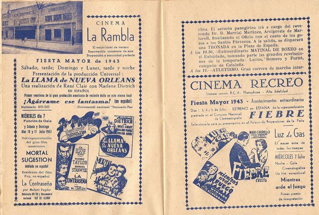 festa major 1943 cinemes