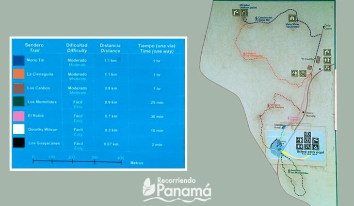 Mapa de los senderos del Parque Metropolitano.