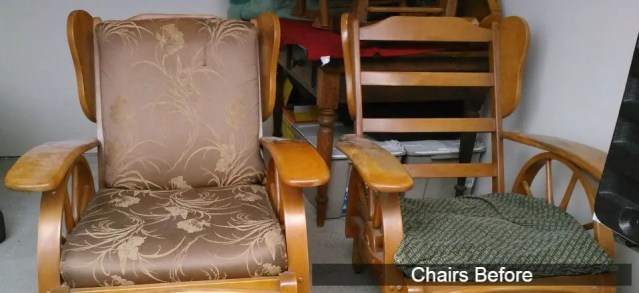 Wooden glider chairs before refinishing and reupholstery