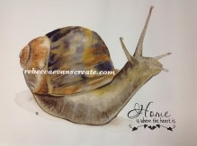 """' home is where the heart is' watercolour snail 12x16"""" cold press 140 lb"""