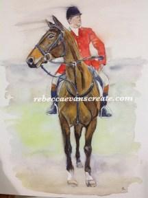 Watercolour, 'hunt master' 16x12 140 lb cold press