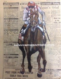 'An old bet' watercolour on vintage newspaper, racing page.
