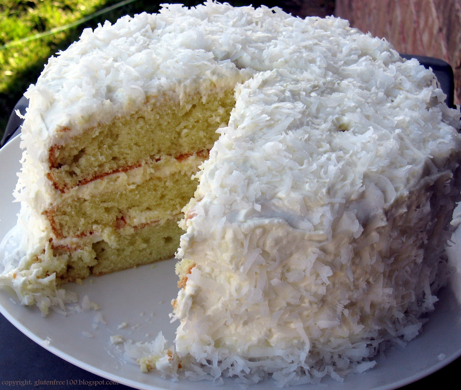 Gluten Free 3 Layer Coconut Cake With Lemon Cream Cheese