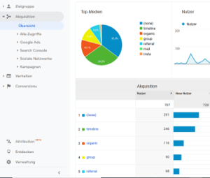 Google Analytics Akquisition Top Medien