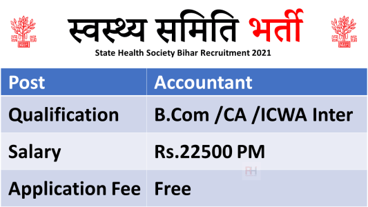 State Health Society Bihar Recruitment 2021