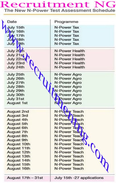 NPower programme/project/test Timetable for 2017