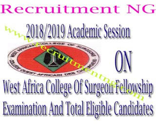 2018/2019 Academic Session on West Africa College Of Surgeon Fellowship Examination And Total Eligible Candidates
