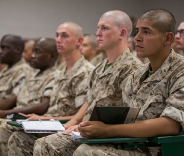 In The Classroom At Marine Corps Bootcamp Recruit Training Mcrd