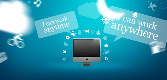 "Finding freelance work - computer screen with speech bubbles saying ""I can work anytime"" and ""I can work anywhere"""