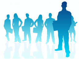 Recent changes in employment law - silhouette in blue of a variety of businesspeople
