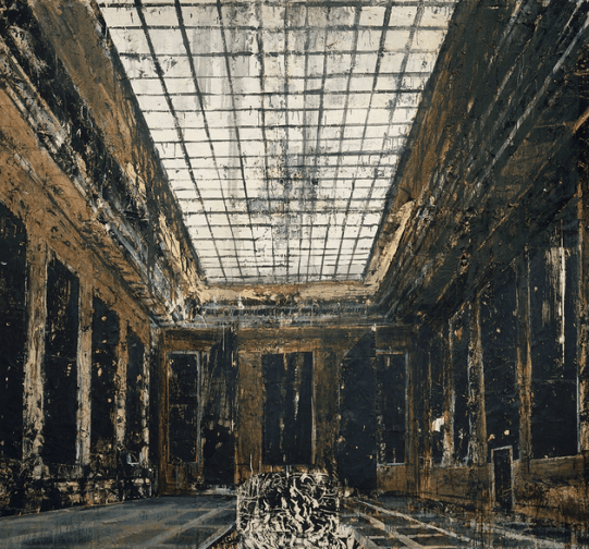 Anselm Kiefer, Interior, 1981. Oil, acrylic and paper on canvas. 287.5 x 311 cm. Collection Stedelijk Museum, Amsterdam. Photo Collection Stedelijk Museum, Amsterdam / © Anselm Kiefer.
