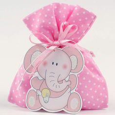 Recuerdos de Bautizo niña bolsita rosa elefante foamy