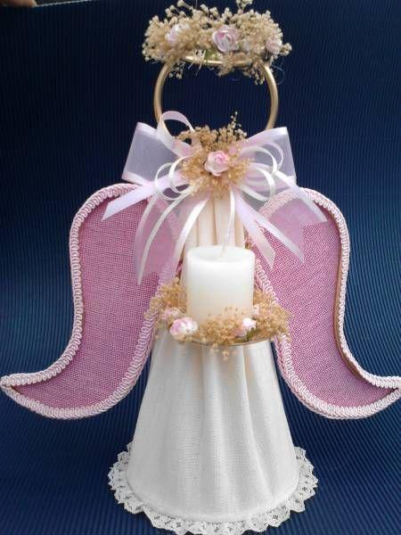 Recuerdos de Bautizo niña forma angel rosa metal doradocon vela