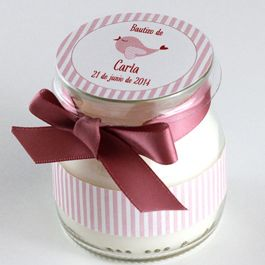 Recuerdos de Bautizo niña frasco rosa marron bonito