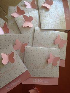 Recuerdos de Bautizo niña tarjeta rosa bonita
