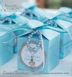 Recuerdos de Bautizo para niño azul caja carton con rosario
