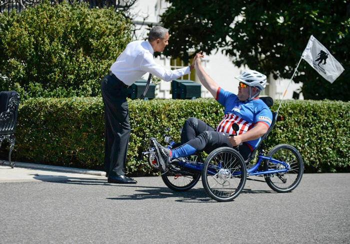 Obama high five with US soldier