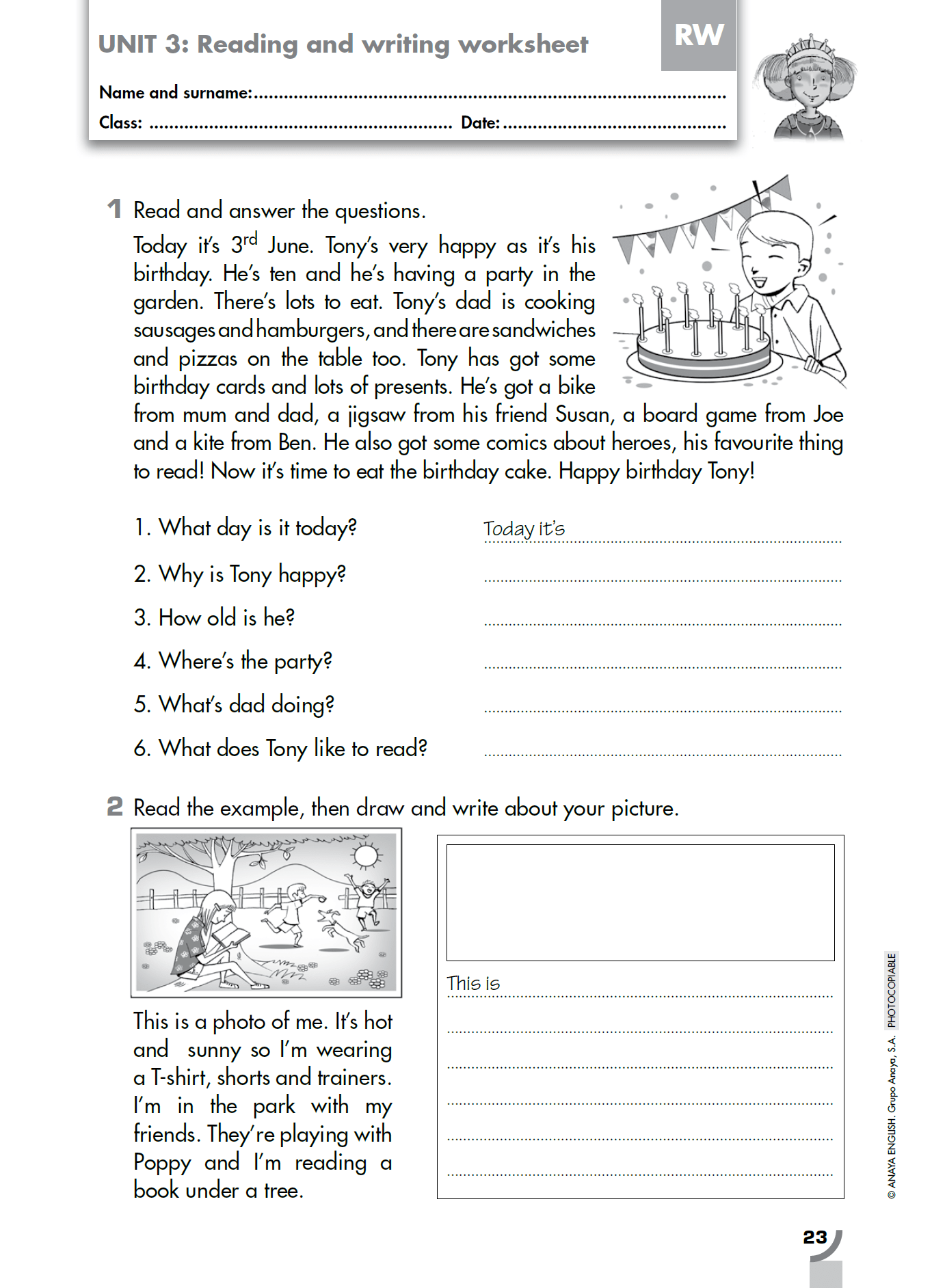 Reading Comprehension Exercises 1 Eso