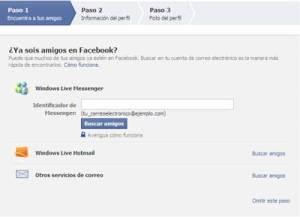 Primer paso de la peticion de datos del proceso de alta de facebook