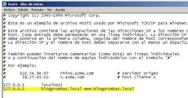 Modificacion de fichero Host