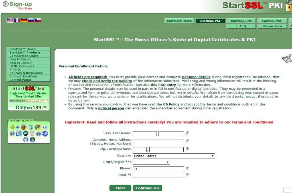 startssl, datos de registro