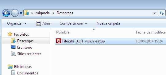 Filezilla, instalador