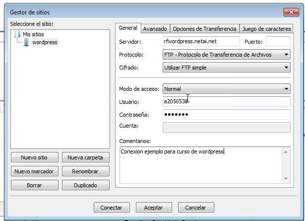 Configurando Filezilla