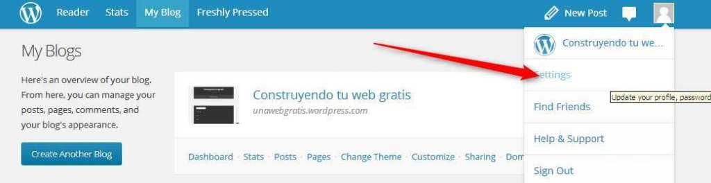 Desplegable de acciones de perfil en WordPress.com
