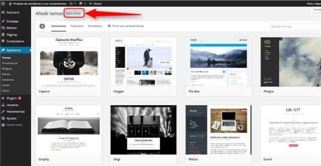 Wordpress-Subir tema nuevo
