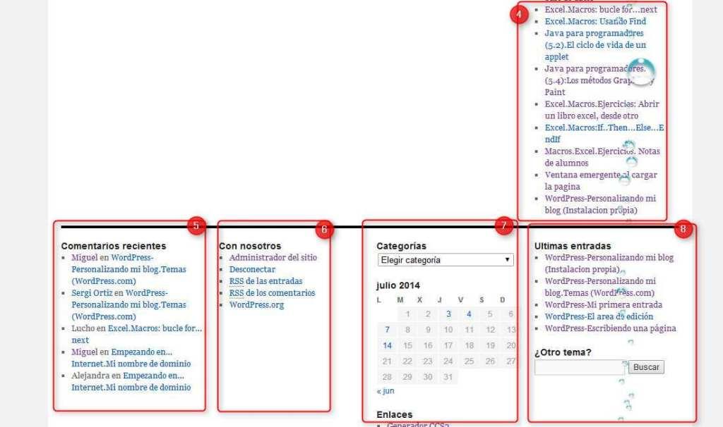 wordpress-area de widgets