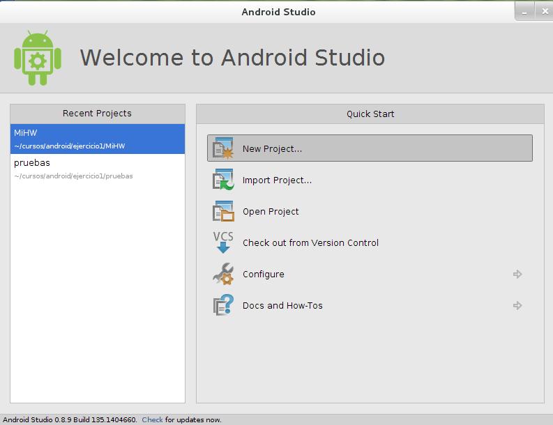 Android Studio-Nuevo Proyecto