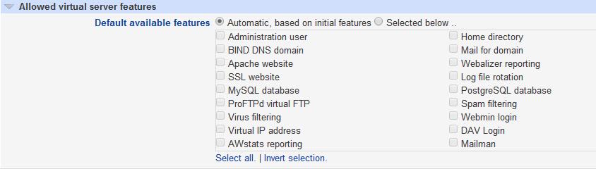 Virtualmin. Caracteristicas permitidas a un servidor virtual