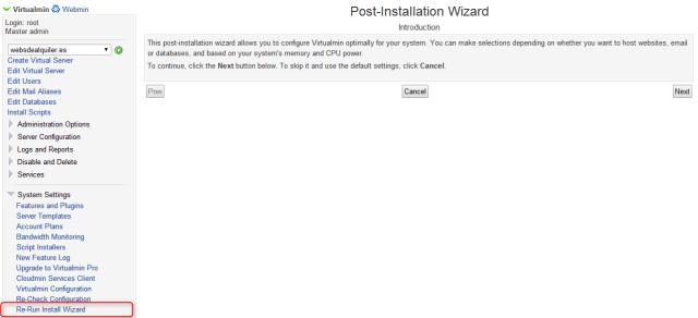 virtualmin Rerun install wizard