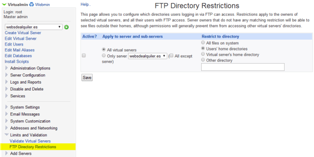 Virtualmin FTP Directory Restrictions